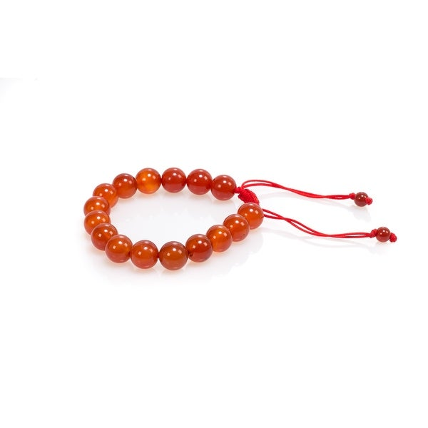 Natural Stone Meditation Stretch Bracelet Tibetan Mala, Carnelian Red