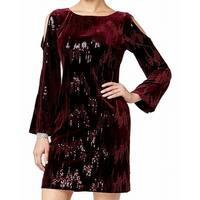 Jessica Howard Red Womens Size 16 Velvet Sequined Sheath Dress