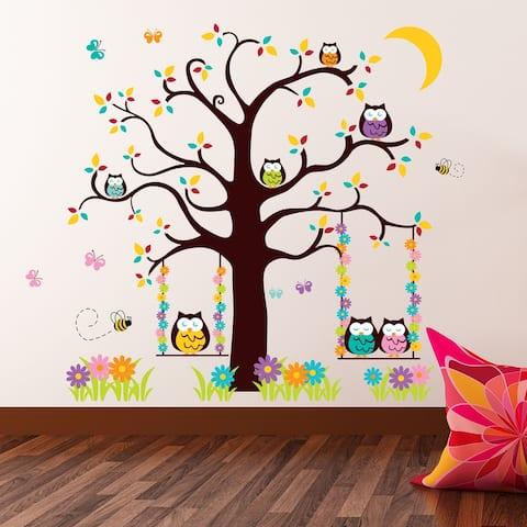 Walplus Nursery Owl Tree Peel and Stick Wall Sticker Wall Home Decor