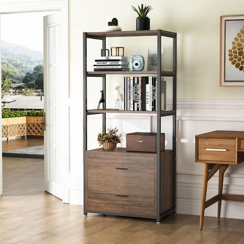 Tribesigns Vintage Bookshelf, Rustic Etagere Bookcase with Drawers