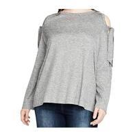 Rachel Rachel Roy Gray Tie Sleeve Women 3X Plus Pullover Sweater