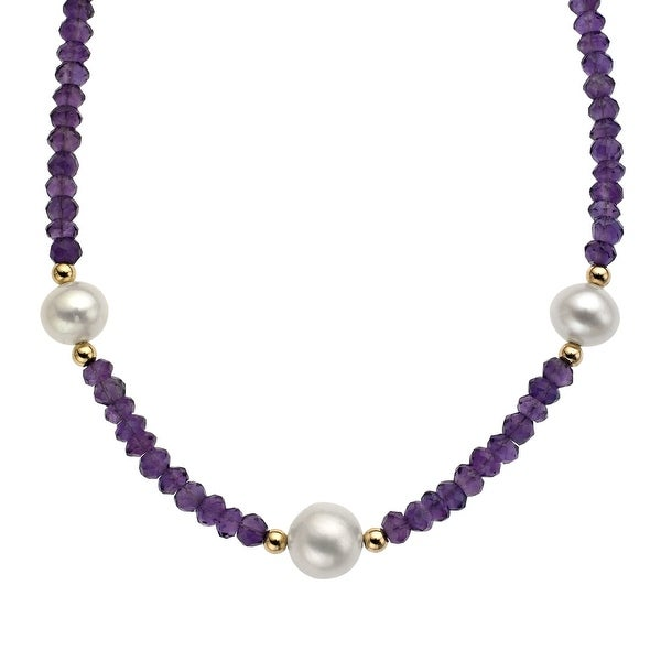 4-4.5 mm Amethyst and Freshwater Pearl Necklace in 14K Gold