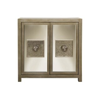 "Harp and Finial HFF2304  Andes 40"" Wide Wood Accent Cabinet - Silver Leaf"