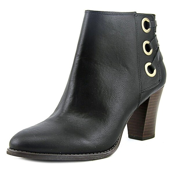 INC International Concepts Jessa Women Round Toe Leather Black Ankle Boot
