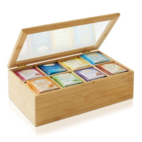 Bamboo Tea Box Organizer, Storage Chest for Tea Bags by Casafield