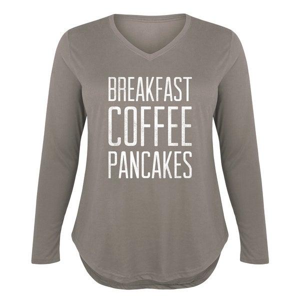 49de182b70 Breakfast Coffee Pancakes - Ladies Plus V-Neck Long Sleeve Tee - STONE