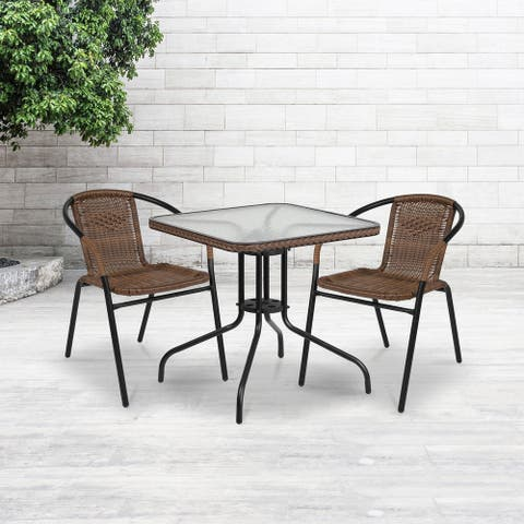 "28"" Square Tempered Glass Metal Table with Dark Brown Rattan Edging - 28""W x 28""D x 28""H"