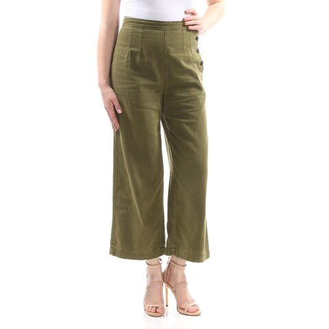 FREE PEOPLE Womens Green Darted 3 Button Capri Wear To Work Pants Size: 8