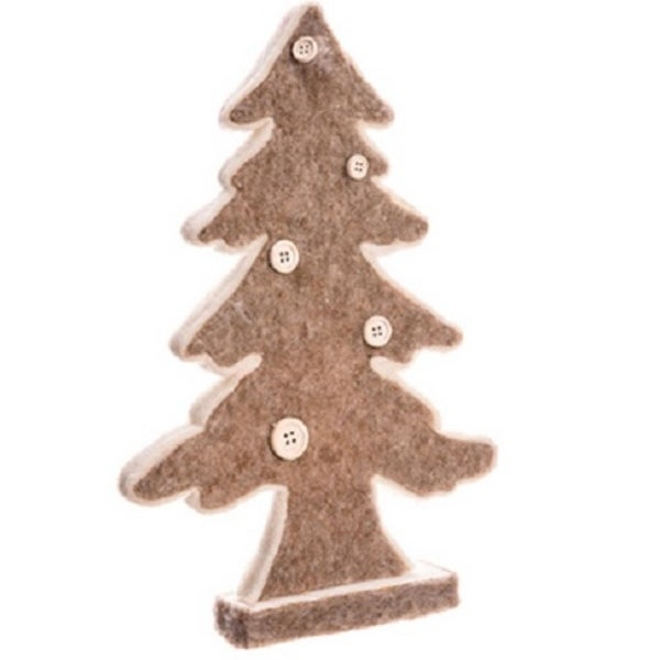"12"" Country Cabin Gray and White Buttoned Table Top Christmas Tree Decoration"