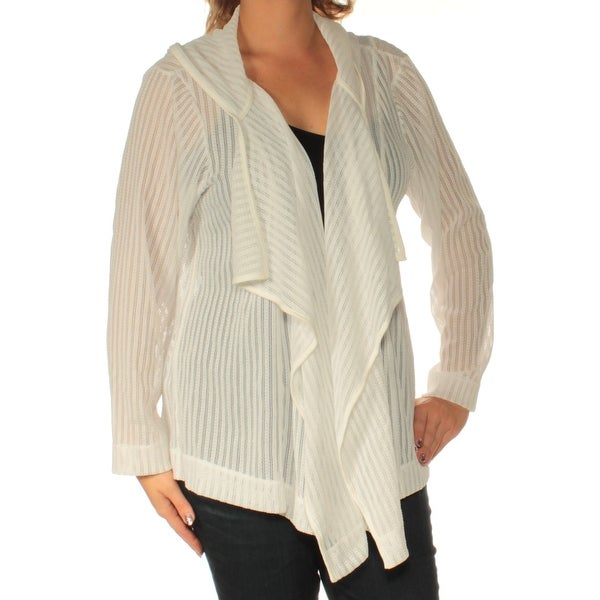 6a62f68675633 Shop TOMMY HILFIGER Womens White Hooded Long Sleeve Open Cardigan Sweater  Plus Size  0X - Free Shipping On Orders Over  45 - Overstock.com - 22430817