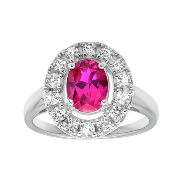 2 1/3 ct Ruby and White Sapphire Ring in Sterling Silver - Red