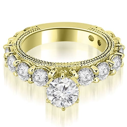 2.25 cttw. 14K Yellow Gold Antique Round Cut Diamond Engagement Ring