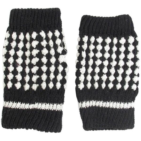 Women Girls Black White Knit Hand Warmers Lined Winter Half Finger
