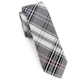 Men's Grey, White, Pink Tie