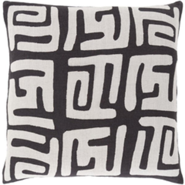 "20"" Tribal Rhythm Jet Black and Fog Gray Decorative Throw Pillow-Down Filler"