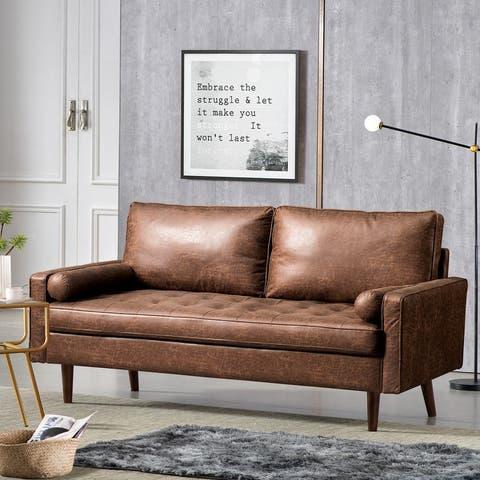 VIATOL Mid-Century Top-Grain Leather Deep Seat Sofa With Cushions Wood Legs