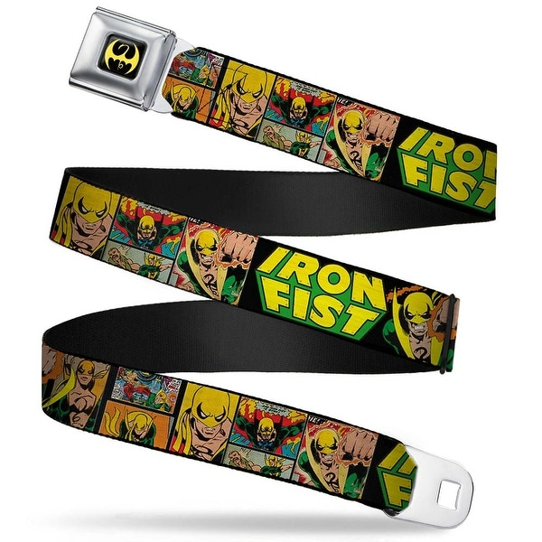 Marvel Comics Iron Fist Dragon Logo Full Color Black Yellow Retro Iron Fist Seatbelt Belt