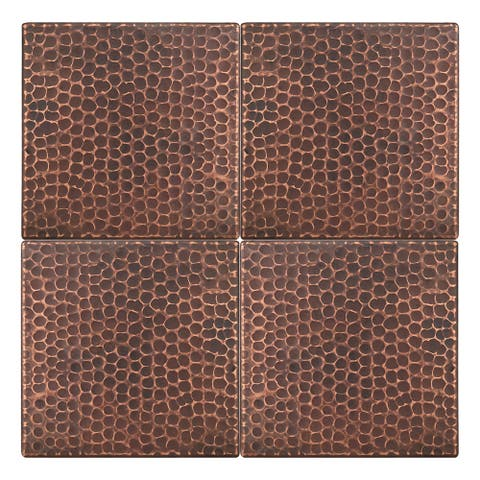 Premier Copper Products T6DBH_PKG4 6-inch x 6-inch Hammered Copper Tile - Quantity 4