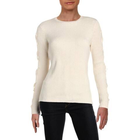 Lauren Ralph Lauren Womens Stevie Pullover Sweater Lace-Up Long Sleeves