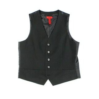 Alfani NEW Black Mens Size Small S Striped Split-Neck Four-Button Vest