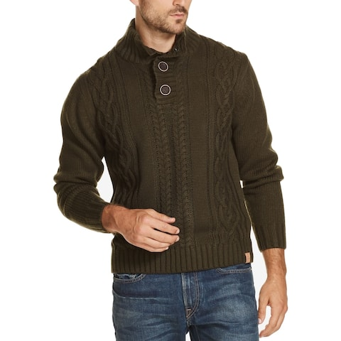 Weatherproof Mens Sweater Olive Cable Knit Military