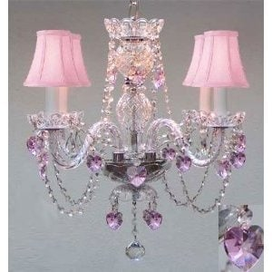 Chandelier Lighting With Crystal Pink Shades