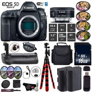 Canon EOS 5D Mark IV DSLR Camera With 24mm 2.8 STM Lens + 4PC Macro Filter Kit + Case + Wrist Strap + Card Reader - Intl Model