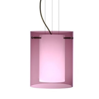 BESA Lighting 1KG-A00607 Pahu 1 Light Cable-Hung Pendant with Transparent Amethyst / Opal Glass Shade