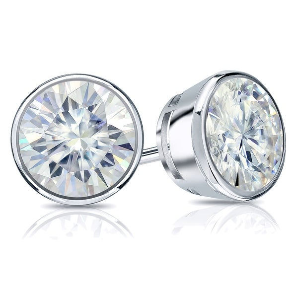 Auriya 14k Gold 2ctw Bezel-set Round Moissanite Stud Earrings - 6.5 mm. Opens flyout.