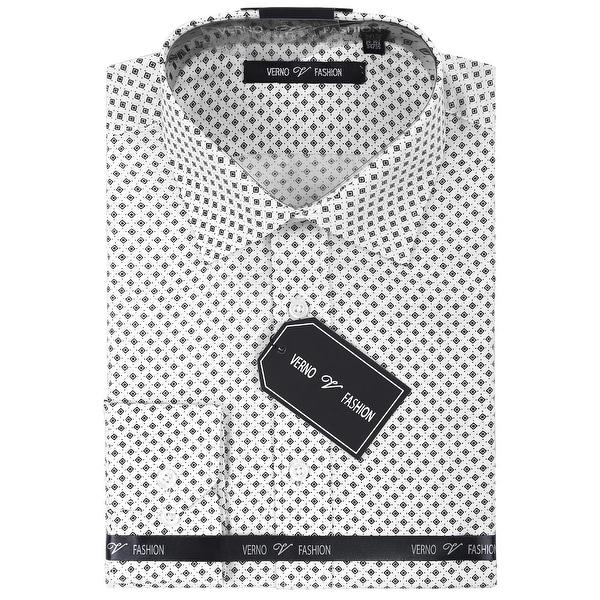 Mens Slim Fit Spread Collar Foulard Print Dress Shirt