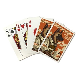 German Shepherd - Retro Coffee Ad - Lantern Press Artwork (Playing Card Deck - 52 Card Poker Size with Jokers)