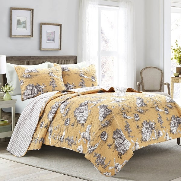 Lush Decor French Country Toile Cotton Reversible 3 Piece Quilt Set. Opens flyout.