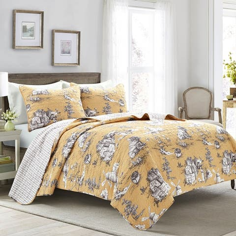 Lush Decor French Country Toile Cotton Reversible 3 Piece Quilt Set