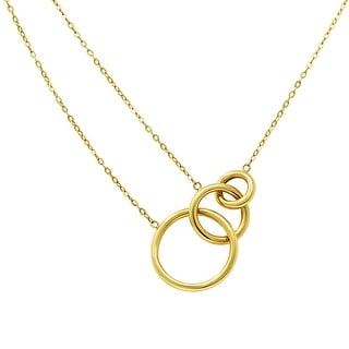 Amanda Rose 14k Yellow Gold Triple Interlocking Circle Necklace On A 16 18 In Adjustable Double Chain