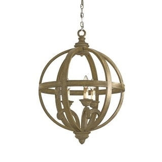 Currey and Company 9133 3 Light Wrought Iron Small Axel Orb Chandelier with Customizable Shades - Chestnut