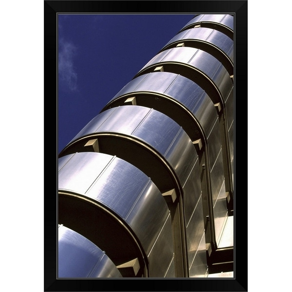 """""""An abstract view of The Lloyds Building in the heart of London's financial district"""" Black Framed Print"""