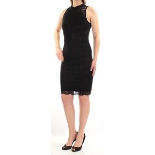 Womens Black Sleeveless Above The Knee Sheath Cocktail Dress Size: 2XS