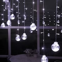 AGPtek 120LED 9.84ft Linkable Window Ball Curtain Light String w/ 8modes Pure White