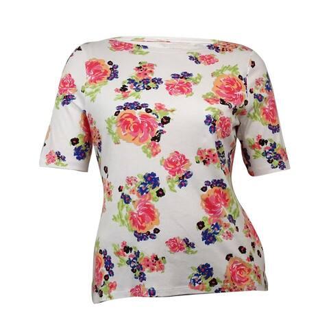 Charter Club Women's Floral Bateau Pima Knit Top