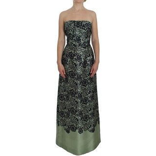 Dolce & Gabbana Green Floral Lace Silk Corset Maxi Dress - it40-s