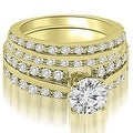 2.60 cttw. 14K Yellow Gold Two Row Round Cut Diamond Bridal Set - Thumbnail 0
