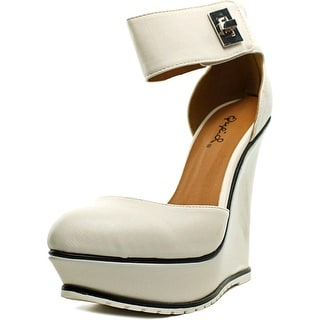 Qupid Sybil-01 Women Open Toe Synthetic White Wedge Heel