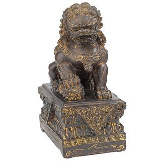 Design Toscano Chinese Guardian Male Lion Foo Dog Statues