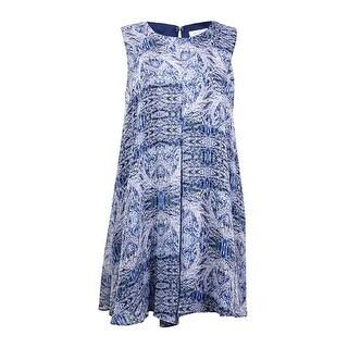 BCBGeneration Women's Printed Pleated Shift Chiffon Dress - dark wave