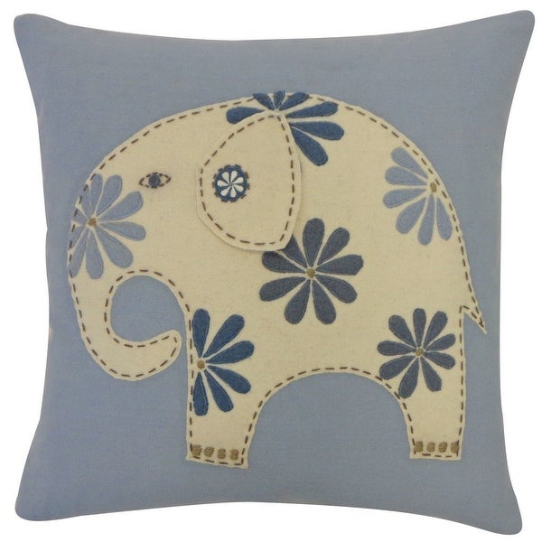 Vivai Home Dusty Blue Circus Elephant Square 16x 16 Feather Cotton Pillow