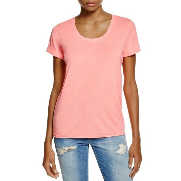 Splendid Womens T-Shirt Burnout Cuffed Sleeve