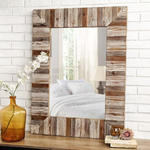 "Glitzhome 40H Oversized Farmhouse Rectangle Wooden Planks Frame Wall Mirror - 39.70""L"