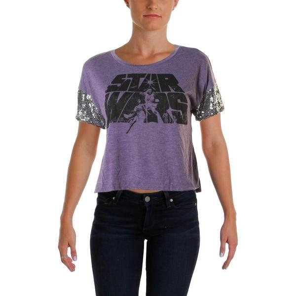 Star Wars Womens Juniors Graphic Tee Sequined Trim Graphic