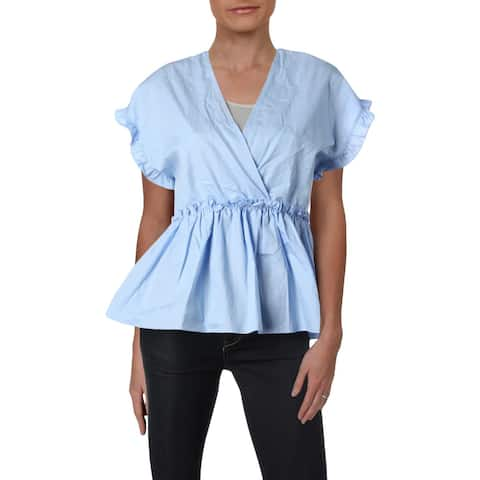 Aqua Womens Peplum Top Empire Surplice