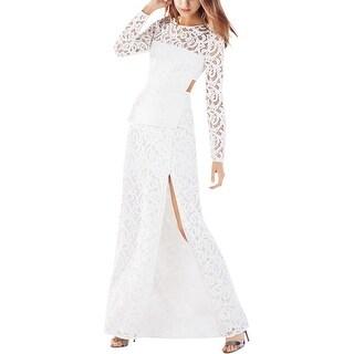 BCBG Max Azria Womens Elizabella Evening Dress Lace Peplum